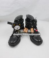 Wholesale Costume Cosplay Rin Len - Wholesale-Vocaloid len Kagamine Rin Ren black cos Cosplay Shoes Boots shoe boot #JZ419 anime Halloween Christmas