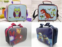 Wholesale Kids Canvas Lunch Bags - Newn kids lunch bags cartoon printed children snack bags girls boys food packages handbags canvas bag