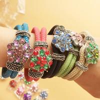ingrosso gioielli di interscambio-Set di gioielli 5pcs multicolor PU bracciali in pelle 5pcs 20mm cristallo noosa bottoni a pressione fai da te scambio charms bracciali 10 pz / lotto F340L