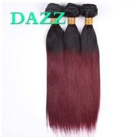düz kırmızı saç uzantıları toptan satış-Ombre Renk 1B 99J Ham Hint Bakire Saç Düz 3 Demetleri Fırsatlar Düz Örgü Atkı Kırmızı Bordo Boyalı Ağartılmış İnsan Saç Uzantıları DAZZ