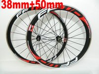 Wholesale Carbon Alloy Road Wheels 38mm - 38mm+ 50mm Red FFWD Alloy carbon wheels 50mm 700C Clincher carbon road bike wheelset with powerway hubs free shipping