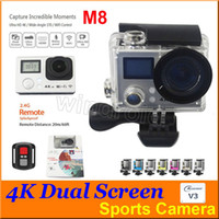 Wholesale Home Remote Control Cheap - Cheap Ultra 4K HD Action Cameras 2 inch 170° HDMI WIFI Dual Screen 30m Waterproof Sports Camera + Remote Control DV DVR M8 V3 Free DHL 10pcs