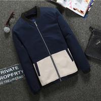 Wholesale Korean Urban Jacket - Men's casual jacket 2016 new urban fashion jackets patchwork mens basaball coats korean style slim fit outwear Plus Size M-4XL