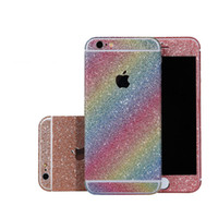 Wholesale iphone sticker skin cover - Glitter Cellphone Sticker Fullbody Skin Matte Decals Back Cover Protector Bling For iPhone 8 7 6s 6 Plus