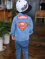 Wholesale Kids Superman Winter Coats - 2017 New Spring Autumn Boy Jean Denim Jacket Children Baby Superman Printing Outwear Coats Kids Toddler Europe Style Outcoats Clothing Suits