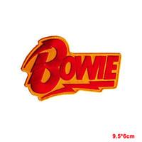 demir yamaları şapka toptan satış-David Bowie kırmızı sarı flaş nakış demir-on dikmek bez şapka yama Çıkartmalar Giyim Aksesuarları Rozeti Yamaları