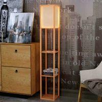 Wholesale Decorative Modern Floor Lamp - Modern LED Decorative Wooden Loft Floor Lamp Black White Standing Lamp with Table Storage Shelf for Home Living Room Bedrooms