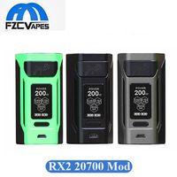 Wholesale Display E - Authentic Wismec Reuleaux RX2 20700 Box Mod 200W Output E Cigarette Vape Mod with Big OLED Display 100% Original