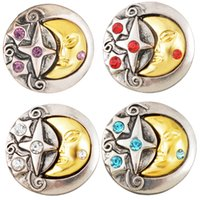 Collier Motif Couleur Pas Cher-22m 2pcs Golden Color Moon Star Pattern Round Snap Buttons Ancient Silver Rhinestone Buttons Charms DIY Collier Bracelet 4 Styles N196S
