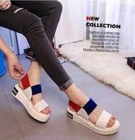 Wholesale crust shoes for sale - Group buy Korean female summer sandals thick crust muffin student flat in simple open toed shoes with comfortable elastic band