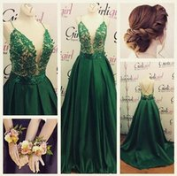 Wholesale Emerald Green One Shoulder Dress - Emerald Green Lace satin prom Dresses Spaghetti Straps Open Back Sweep Train Appliques Beaded Long Formal Evening Occasion Party Gowns Cheap