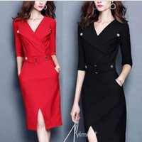 Wholesale Hot Sale Dresses For Work - Women Casual Formal Working Dresses Clothing 2016 Knee-length Lady Maxi Summer Party Evening Bodycon Clothing for Womens Wholesale Hot Sale