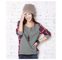 Wholesale Plaid Hoodie Women - Wholesale- Women Long Sleeve Sweatshirt Crew Neck Plaids Check Loose Hoodies Women