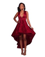 Wholesale Casual Asymmetrical Hem Dress - High Low HemDeep V Neck Lace Boho Dress Summer Sleeveless Maxi Female Robe Elegant Embroidery Asymmetrical Ball Gown Back Zip Party Dresses