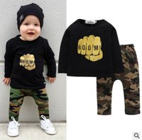 Wholesale 4t Camouflage Clothes - Baby Clothing Sets Cotton Fashion Letter Camouflage Printing Kids T-shirt+Pants 2-pieces Sets Hot Style
