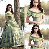 tafta artı boyutu balo elbiseleri toptan satış-Nina Dobrev Vampir Günlüğü Gotik Masquerade Abiye Dantel Tafta Artı Boyutu Tieres Etek Durum Balo Parti Elbise