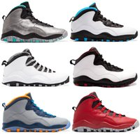 Wholesale Powder X - 2017 air retro 10 X men Basketball Shoes ovo white Steel Grey Powder Blue Chicago Seattle Ice Blue Bobcats Infrared Trainers Boots Sneaker