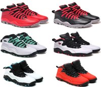 Wholesale Colors Rose Shoes - Top NEW colors Retro 10 men Basketball Shoes Ice white Steel Grey Powder red chicago Seattles sports sneakers boots us 8-13