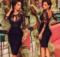 Wholesale Long Lace Quarter Sleeve Dress - Sexy Short Black Lace Three Quarter Sleeve Two Piece Special Occasion Prom Dresses Sexy Cocktail Dresses Stunning Formal Gowns