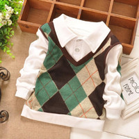 Wholesale Casual Check Shirt Girl - 2016 new spring Autumn Casual College Style Grid Checked Baby Girls Kids Children Clothing Boys Long Sleeve T-shirt Tops S1473