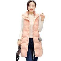 Wholesale Long Hooded Down Vests - Wholesale-Winter Vest For Women 2016 Autumn Parka Vest Waistcoat Hooded Long Thicken Sleeveless Coat Female Warm Clothing Down Cotton Vest