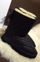 Wholesale Sex Boots Fashion - 2016 winter new Arrivals Fashion Womens black waterproof quilted Leather Genuine shearling fur LINED sex lace bow PULL ON SHORT SNOW boots