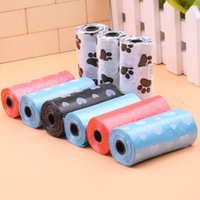 Wholesale Wholesale Pet Bags - 30*56Cm Eco-Friendly Dog Waste Bags Cleaning Pet Supplies 15 Pcs Roll Dogs Accessories Printing Pattern Waste Bags Multi Colors Available