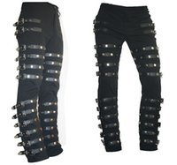 Wholesale Metal Tights - Wholesale-HOT NEW Michael Jackson MJ BAD Classic punk rock concert tight rivet Metal Trousers pants Pure handmade