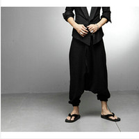 Wholesale Harem Capri Woman Pants - Wholesale-NEW Men Women Japanese Samurai Style Boho Casual Low Drop Crotch Loose Fit Harem Baggy Hakama Capri Cropped Linen Pants Trousers