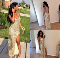 Wholesale Mermaid Sparkling Dress V Neck - Sparkling Sequins Silver and Gold Sexy Prom Party Dresses V Neck 2016 High Slit Mermaid Backless Plus Size Cheap Graduate Gowns Eveing Wear