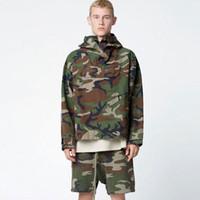 erkekler için uzun askeri katlar toptan satış-Erkek Camo Ceket Tanrı Korkusu Boy Kapşonlu Ceket Askeri Kamuflaj Trençkot Uzun Kollu Kazak Hoodie Coats MJG0919