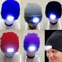 Wholesale Led Cowboy Hats - Wholesale LED Glowing Winter Beanies with 5 Led Flash Light Novelty Led Hat for Hunting Camping Grilling 12 Colors Mix Accept Send by DHL