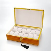 Wholesale maple watch - Luxury Wooden Watch Box For 12 Grids Watches Fashion Lacquer Maple Watch Display Case High Class Storage Organizer Box Holder
