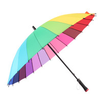 Wholesale Rain Protection Cover - Wholesale-24 Colors Rainbow Umbrella Colorful Rain Tool Lightning Protection Umbrella Windproof Cover Fashion Outdoor Protector