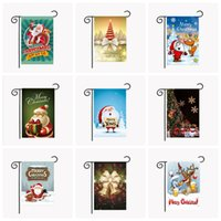 Wholesale Hanging Party - Christmas Garden Flags 30*45cm Outdoor Hanging Polyester Garden Flags Christmas Decorations Xmas Party Home Decor 42 Styles OOA2509