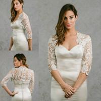 Wholesale Dress Plus Size Bolero - New Arrival 2016 Bridal Wraps 3 4 Sleeves Bridal Coat Lace Jackets Wedding Capes Wraps Bolero Jacket Wedding Dress Wraps Plus Size