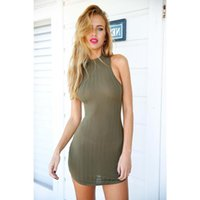 Wholesale Club Strips - New Womens Olive Green Stripped Package buttocks Bodycon Dress Mini Club Dress H200