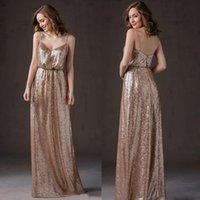 Wholesale Spaghetti Strap Dress Shining - Shining sequins bridesmaid dresses long spaghetti straps 2016 sparkling sequins bridesmaid dresses there party evening dress