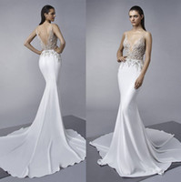 Wholesale Gorgeous Short Skirts - sexy illusion gorgeous beaded lace embellishments mermaid wedding dresses 2018 Enzoani bridal fit and flare wedding gowns