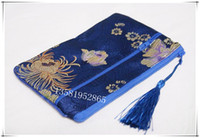 Wholesale Silk Coin Purse Brocade - Large Double Zipper zone Travel Jewelry Storage Bag Tassel Chinese Silk Brocade Coin Purse Phone Wallet Makeup Packaging Bag 2pcs lot