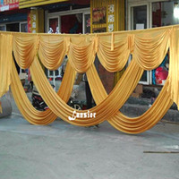 Discount wedding decorations fabric draping - 6 meter length wedding backdrop party decoration ice silk fabric drapery gold swag stage background drape curtain backdrop swags
