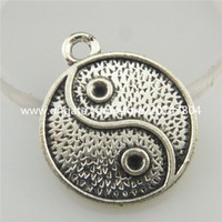 Wholesale I Ching - 19408 10X Vintage Silver Alloy I Ching Bagua Tai Chi Ying Yang Pendant Findings