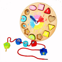 Wholesale Two Sided Clocks - Baby Toys Wooden Geometric Blocks Clock Wooden Toys Blocks Two Side Child Early Learning Beads Clocks Educational Child Gift