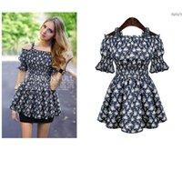 Wholesale European Summer Mini Dress - plus size 2016 New Summer Fashion cotton women dress European Pleated floral A line evening party mini slim dresses 4xl 5xl