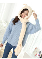 Wholesale Glove Scarf Ear Warmer Set - Wholesale-Princess sweet hat glove scarf 3 pieces set Autumn winter warm women's devil horn cat big ears knitted woolen