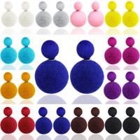 pregos de brinco esférico venda por atacado-XS Moda Veludo Esférico De Pelúcia Double-sided Competing Brincos de Pérolas Ornamentos para As Mulheres Brinco Brilhante Atacado