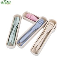 Wholesale Portable Plastic Cutlery Sets - Berglander 3 pcs  set Cutlery Set Cute Portable Travel Adult Cutlery Wheat Straw Fork Camping Picnic Set Gift for Child Office P