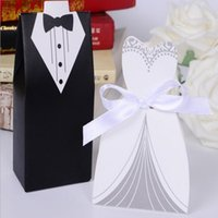 black sugar paper - 100 Piece Creative Black and White Wedding Candy Box Paper Suit To Get Married Portable Box Bride And Groom Box Wedding Dress Sugar Box