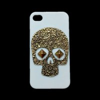 Wholesale Iphone 4s Metallic - White Case Cover for iPhone 4 4S, Punk Stud Rivet Spike Vintage Retro Bronze Metallic Skeleton Skull Back Hard Protective Skin Shell