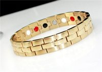 Wholesale Stainless Magnet - 316L titanium stainless steel infrared ion magnet germanium energy bangle bracelet 4 in 1 bio health benifits